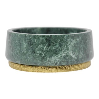Modern Italian Green Marble and Brass Footed Bowl For Sale