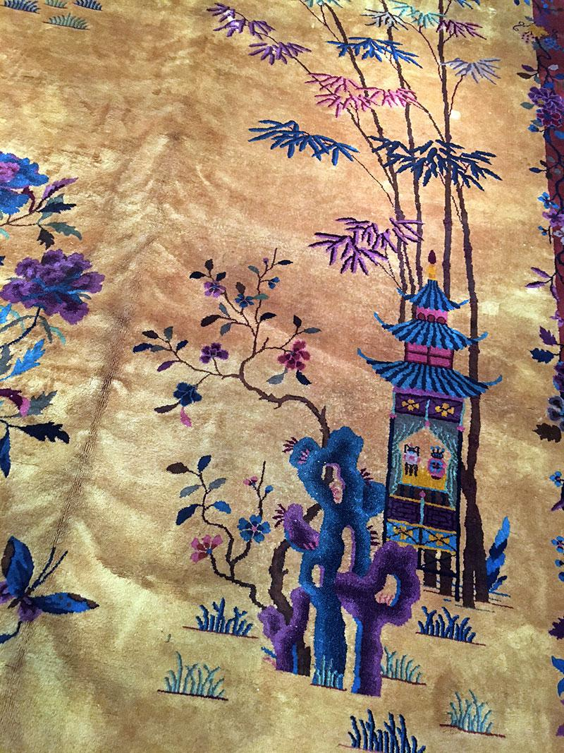 Antique Palace Size Gold Ground Art Deco Chinese Rug 9 X 17