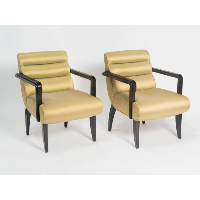 Early 21st Century Early 21st Century Swaim Deco Style Armchairs- a Pair For Sale - Image 5 of 8