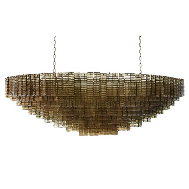 Bronze An Outstanding Bespoke Large Murano Piastre Chandelier For Sale - Image 7 of 7