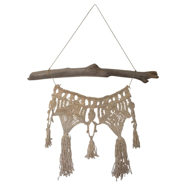 Vintage Macrame Wall Hanging on Driftwood - Image 1 of 5