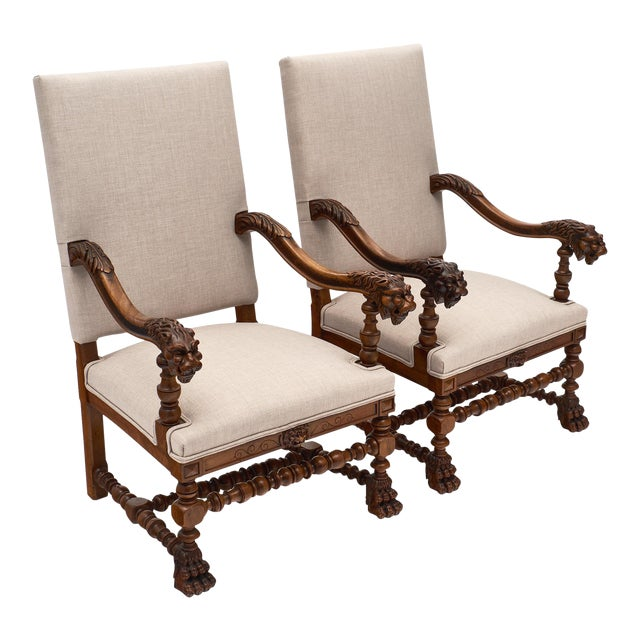 Louis XIII Style French Armchairs For Sale