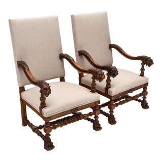 Louis XIII Style French Carved Walnut Armchairs - a Pair For Sale
