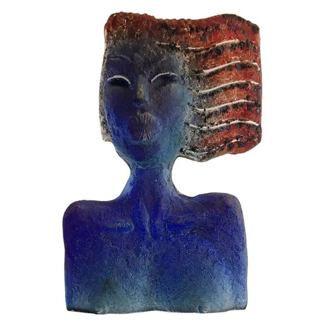 Metal Glass Sculpture of a Woman Bust on a Metal Pedestal For Sale - Image 7 of 7