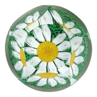 Fratelli Toso Murano Daisy Mosaic Flower Italian Art Glass Faceted Window Paperweight For Sale