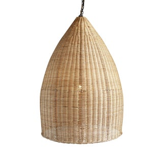Raw Wicker Pod Lantern Medium For Sale