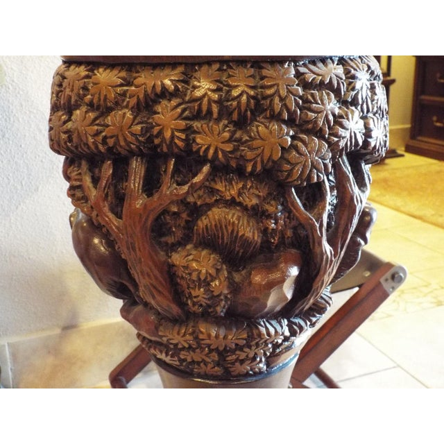 Thai Carved Wood Vases - Pair - Image 6 of 9
