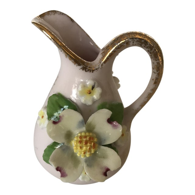 Antique Mini Pitcher With Porcelain Dogwood Flower For Sale