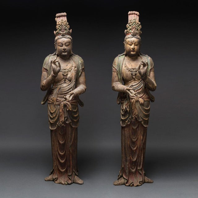 Brown Pair of Lacquered Wooden Sculptures of Bodhisattvas For Sale - Image 8 of 8