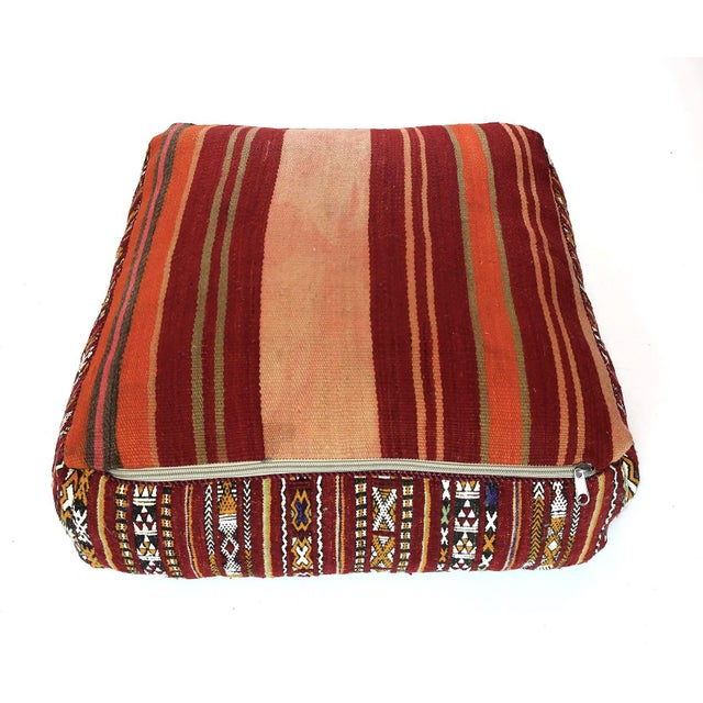 Vintage Moroccan Textile Floor Cushion For Sale - Image 4 of 6
