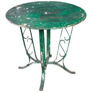 1920s Vintage French Green Garden Table For Sale
