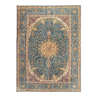 Light Blue Semi Antique Hand Knotted Persian Isfahan 9'11'' X 13'9'' For Sale