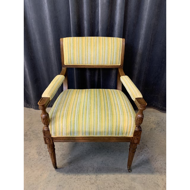 Mid-Century Walnut and Striped Upholstered Drexel Chair For Sale - Image 10 of 10