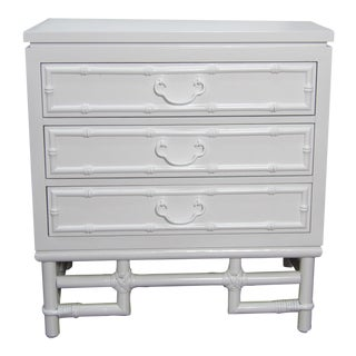 Ficks Reed Nightstand, Three Drawer, New White Lacquer Finish For Sale