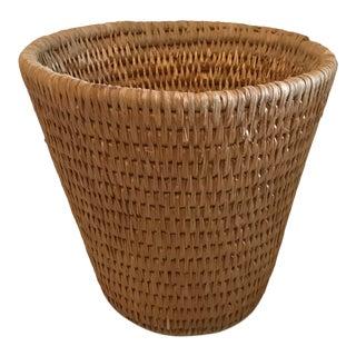 Vintage Woven Wicker Waste Basket For Sale