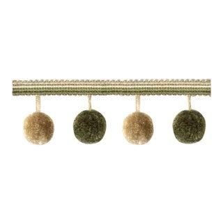 6.75 Yards of Olive Green Pompom Tassel Fringe For Sale