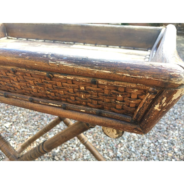 Caning 1950s Boho Chic Tray Table With Folding Base For Sale - Image 7 of 10