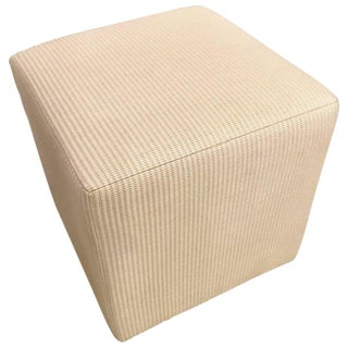 Hollywood Regency Style Cube Footstool or Ottoman in a Handwoven Tweed Fabric For Sale