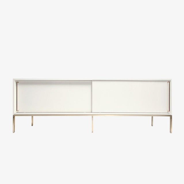 Customizable Re: 379 Grass Green Lacquered Credenza on Brass base For Sale - Image 9 of 12