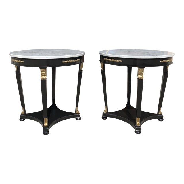 1910s Antique French Empire Marble Top Accent Tables or Gueridon Tables - a Pair For Sale