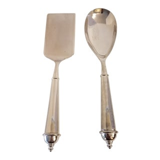 1950s Towle Silverplate Copenhagen 2000 Pattern Serving Spoon & Lasagna Server - a Pair For Sale