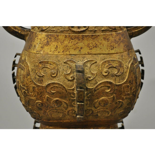 Antique Chinese Gilt Bronze & Rosewood Figural Double Light Table Lamp For Sale In Philadelphia - Image 6 of 13