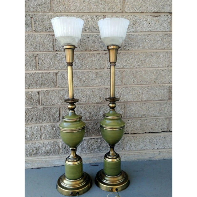 Item offered is a pair of vintage Rembrandt Brass and Enameled Aged Green tall Hollywood Regency Table Lamps with Glass...