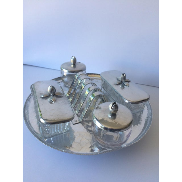 Silver Vintage Lazy Susan Rodney Kent Hammered Aluminum Breakfast Set - Set of 6 For Sale - Image 8 of 9
