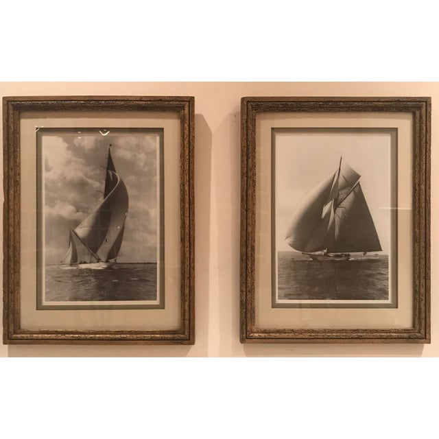 """Pair of beautifully framed and double shadow mount matted black & white prints of the """"Candida"""" from 1923 & the """"Velsheda""""..."""
