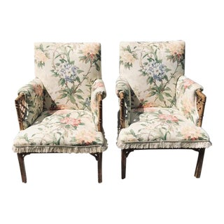 Faux Bamboo Fretwork Chinese Chippendale Armchairs - a Pair For Sale