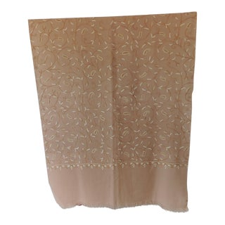 Fashion Sheer Wool Embroidered Natural and Camel Scarf For Sale
