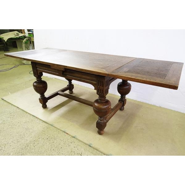 1920s Extending Antique French Solid Oak Jacobean Style Dining Table For Sale - Image 5 of 13