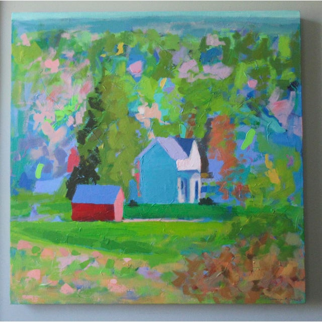 A painting of Vermont from memory. One of the most beautiful states. Painted with a palette knife, it has Impasto thick...