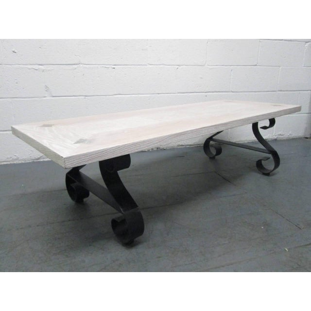 Cerused Oak Coffee Table with Wrought Iron Base For Sale - Image 9 of 9