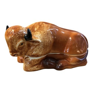 French Majolica Vintage Bison Tureen For Sale