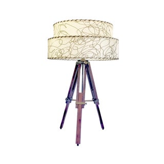 Adjustable Walnut Tripod Lamp with Mid-Century Vintage 2-Tier Fiberglass Lamp Shade For Sale