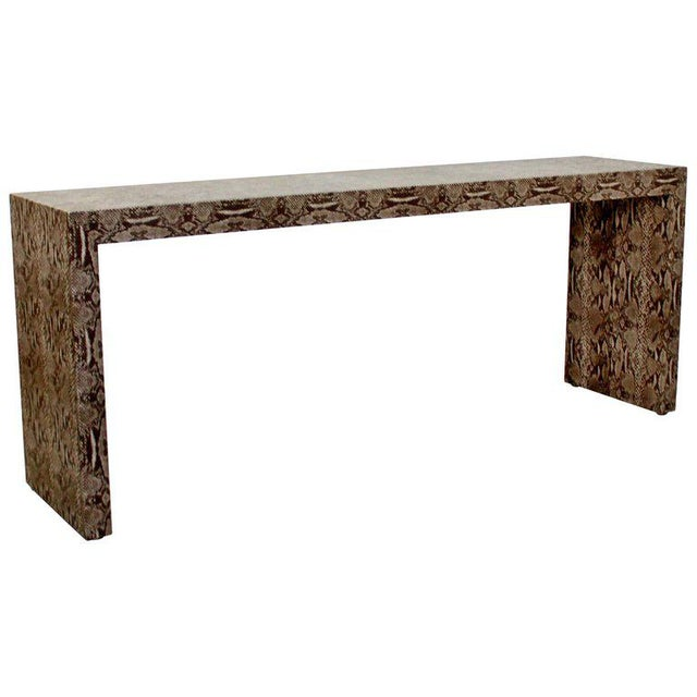 Mid-Century Modern Snakeskin Parsons Console Table 1970s For Sale - Image 9 of 9