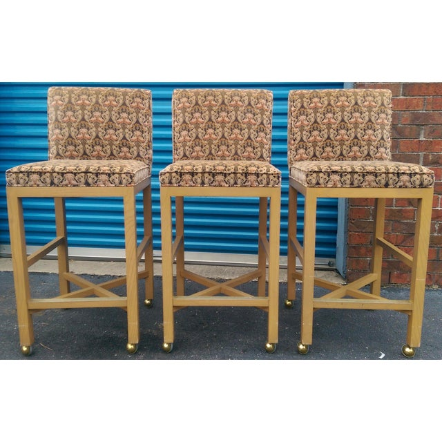 Velvet 1980s Bar Stools on Caster - Set of 3 - Image 2 of 11