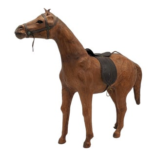 1950s Hand Crafted Leather Horse Statue For Sale