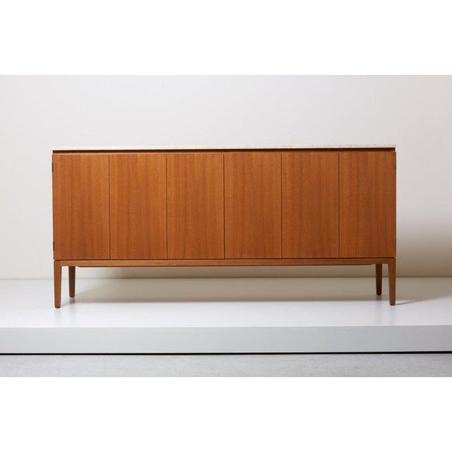 Travertine Top Paul McCobb Credenza or Sideboard 7306 for Directional / Wk Möbel For Sale - Image 9 of 9