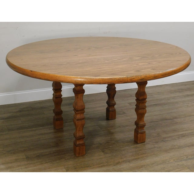 Romweber Viking Oak Round Dining Table For Sale - Image 11 of 13