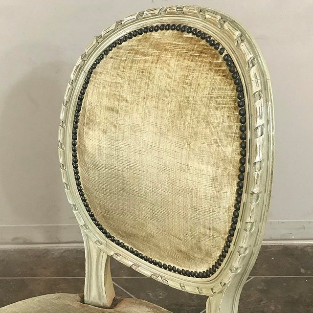 Set of 6 Antique French Painted Louis XVI Chairs For Sale - Image 9 of 13