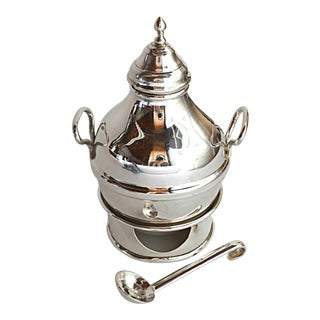 Egyptian Sterling Silver Warming Pot For Sale