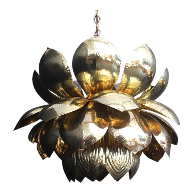 Fine large brass lotus pendant light by feldman decaso large brass lotus pendant light by feldman image 1 of 5 aloadofball Image collections