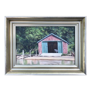 Contemporary Oil Painting of a Cape Cod Boat House by Nick Verdack For Sale