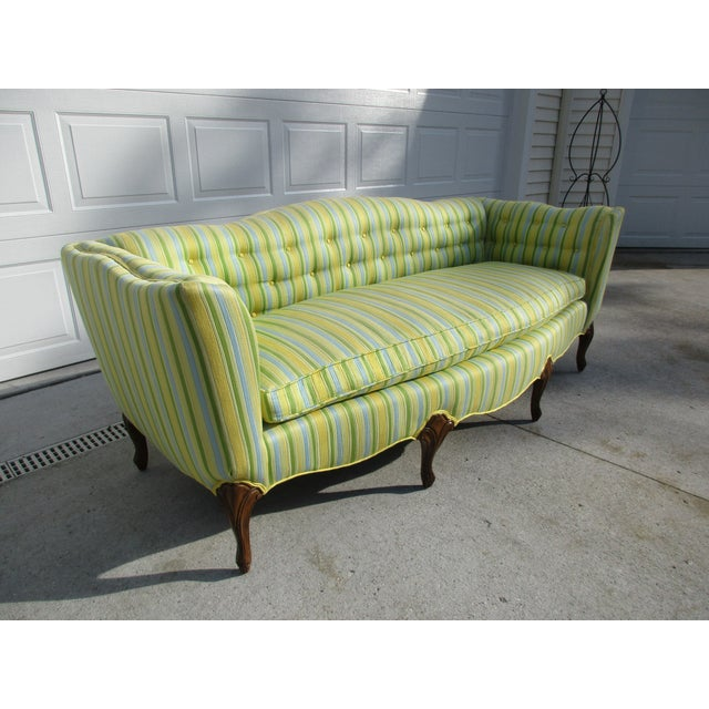 Mid 20th Century Vintage French Striped Sofa For Sale - Image 5 of 12