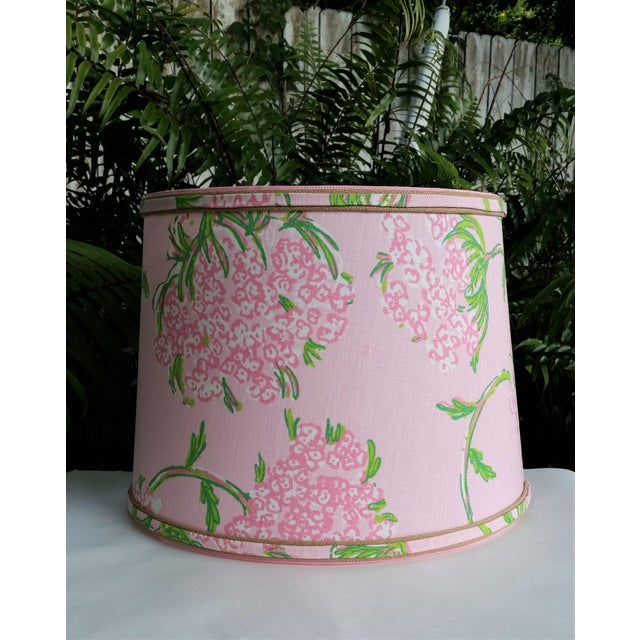 Lee Jofa Large Lampshade Lilly Pulitzer Fabric Floral Pink For Sale - Image 4 of 11