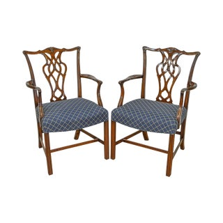 Smith & Watson Chippendale Style Mahogany Arm Chairs - a Pair