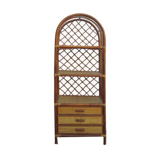 Chinese Bamboo Rattan Round Top Bookcase Cabinet For Sale