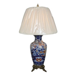 19th Century Imari Table Lamp With Shade & Electrification! For Sale
